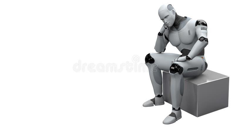 Manligt tänka för robotsammanträde vektor illustrationer