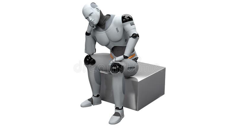 Manligt tänka för robot royaltyfria bilder