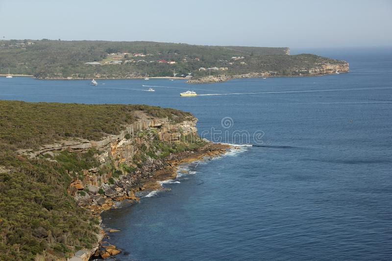 Manly Bay. A view of the entrance to Manly Bay from one of the higher points along the Manly Scenic Walkway, Australia royalty free stock photo