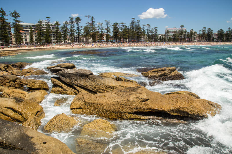 Manly Beach. Picturesque Manly Beach is one of Sydney's most popular beaches stock photo