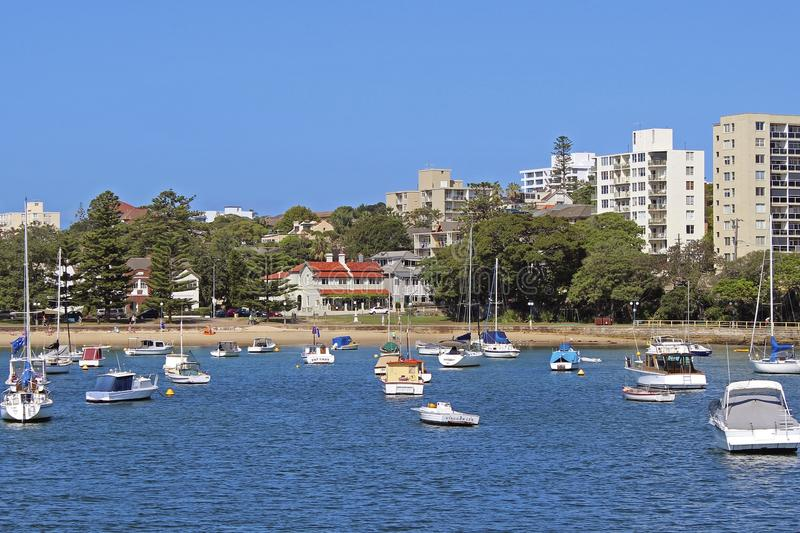 Manly beach, Sydney, Australia. Boats in Manly bay in Sydney, Australia stock images