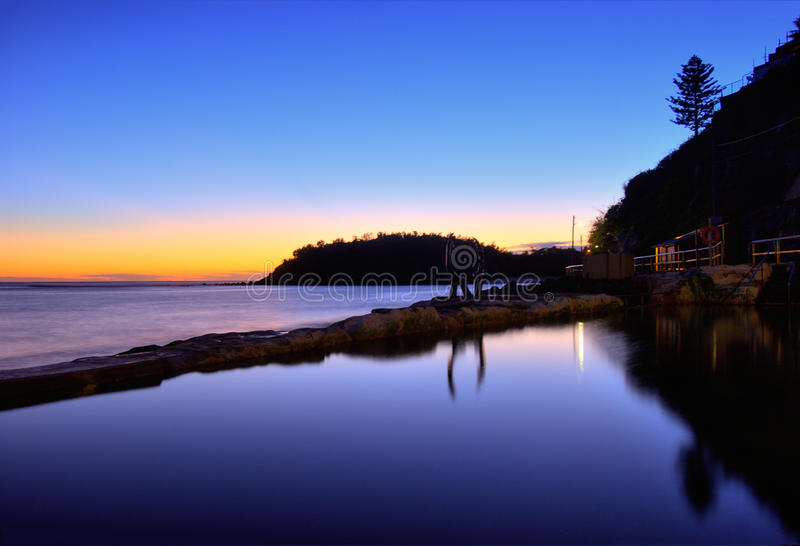 Manly Beach Tidal Pool - Australia. Dawn at Manly Beach tidal pool - northern Sydney, Australia stock image