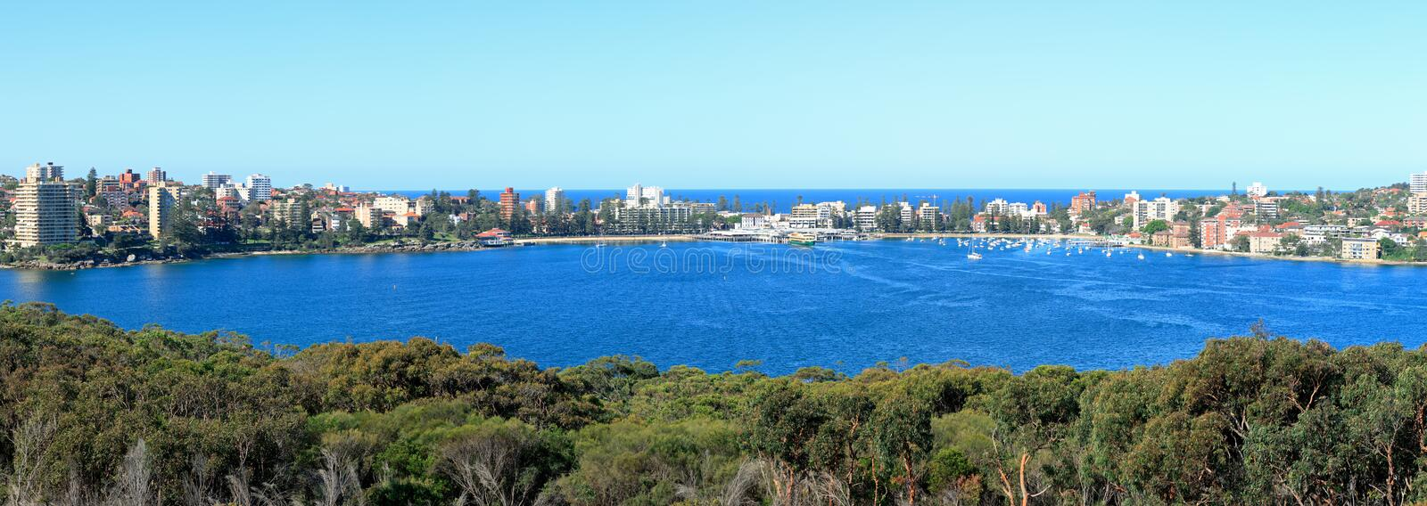 Manly Cove Panorama. Wide high resolution panorama of Manly Cove in Sydney. Taken from the Sydney Harbour National Park stock images