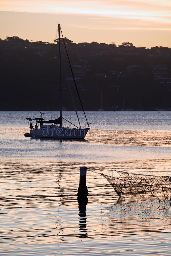 Download Manly Cove And Yacht At Sunset Stock Image - Image: 12758927