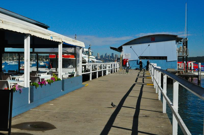 Manly ferry wharf is an heritage-listed passenger terminal wharf and recreational area located at Northern Beaches area of NSW. SYDNEY, AUSTRALIA. – On stock images