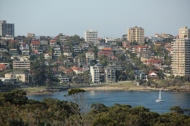 Manly. A view of the bay and the city of Manly from the Manly Scenic Walkway, Australia royalty free stock photo