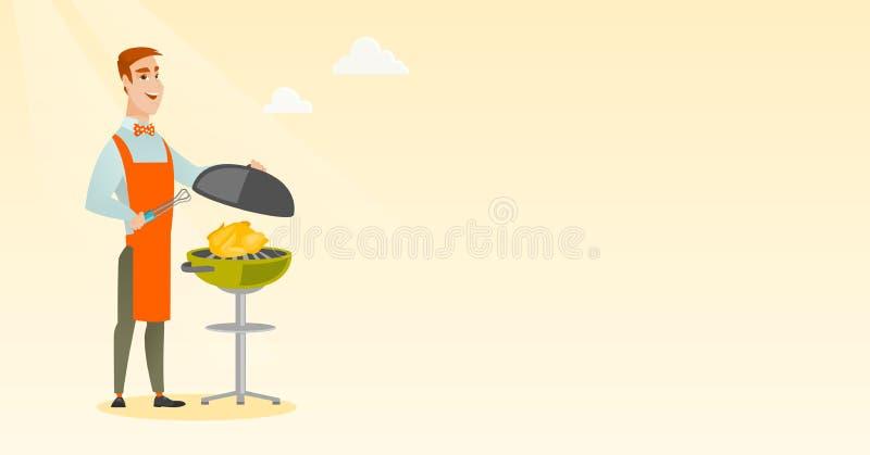 Manmatlagninghöna på grillfestgaller royaltyfri illustrationer