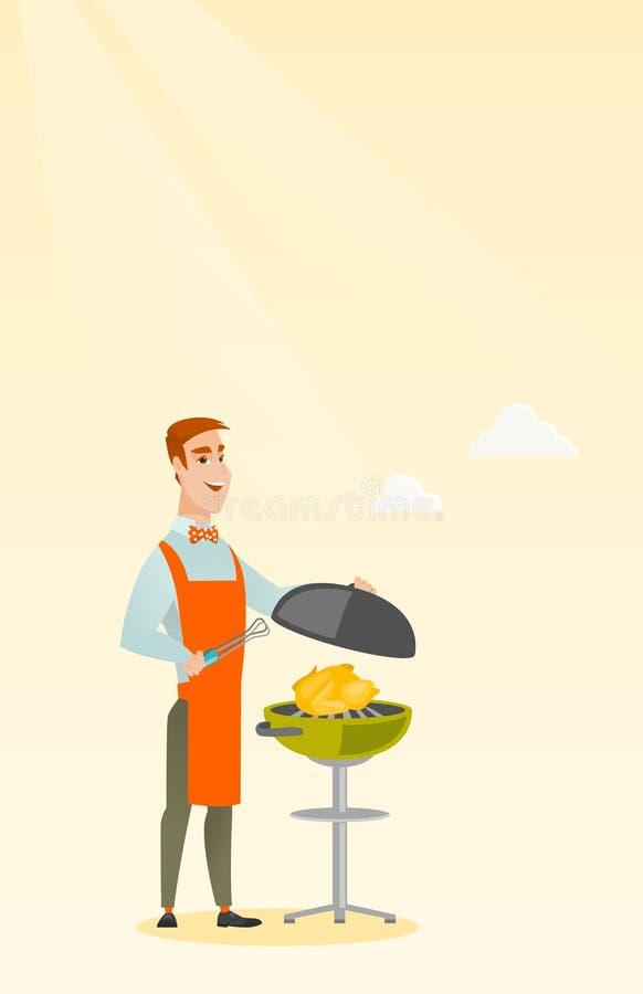 Manmatlagninghöna på grillfestgaller stock illustrationer