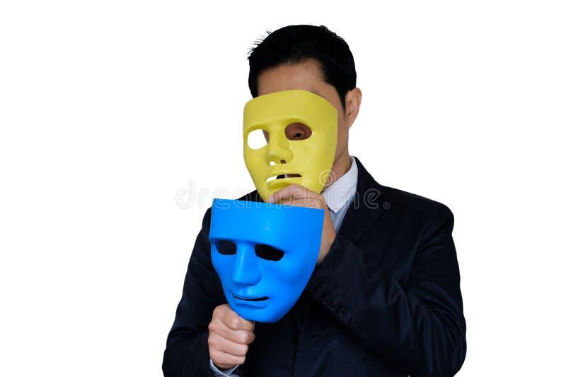 Mann ändert Maske stockbilder