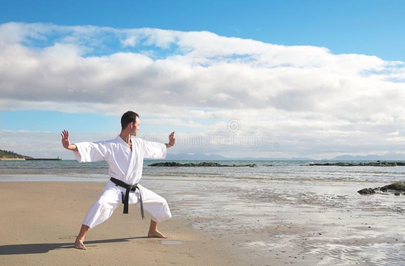 Mann-übendes Karate lizenzfreie stockfotos