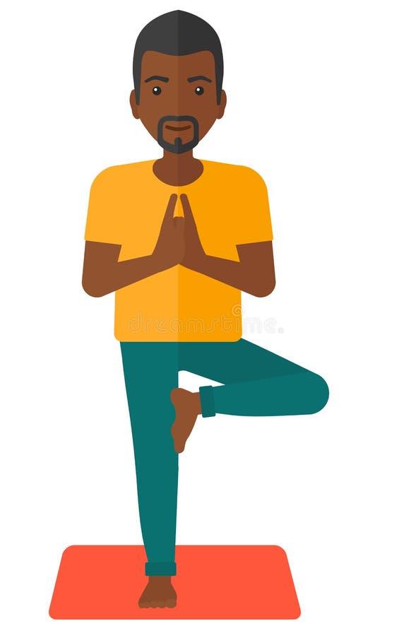 Mann-übendes Yoga stock abbildung