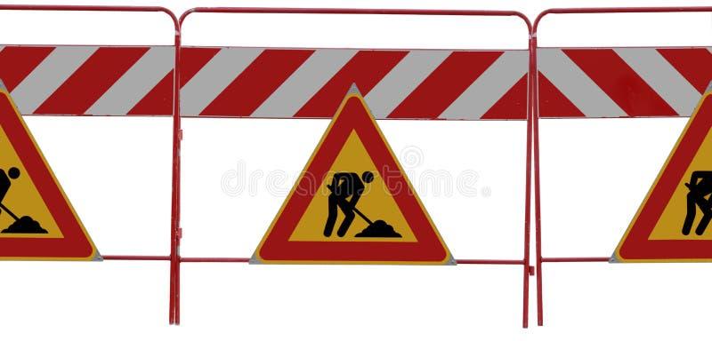Mann 3 an den Arbeit Verkehrsschildern auf Weiß stockbild