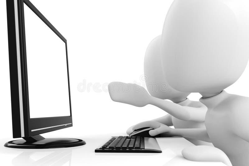Mann 3d, arbeitend am Computer stock abbildung