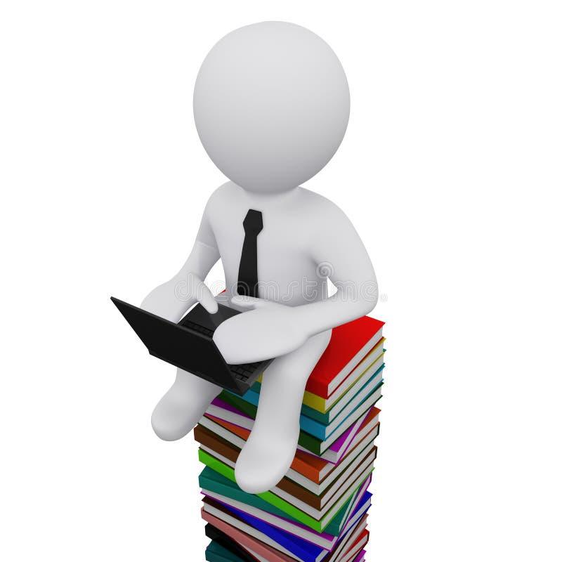 Mann 3D, der auf einem Stapel der Bücher sitzt lizenzfreie abbildung