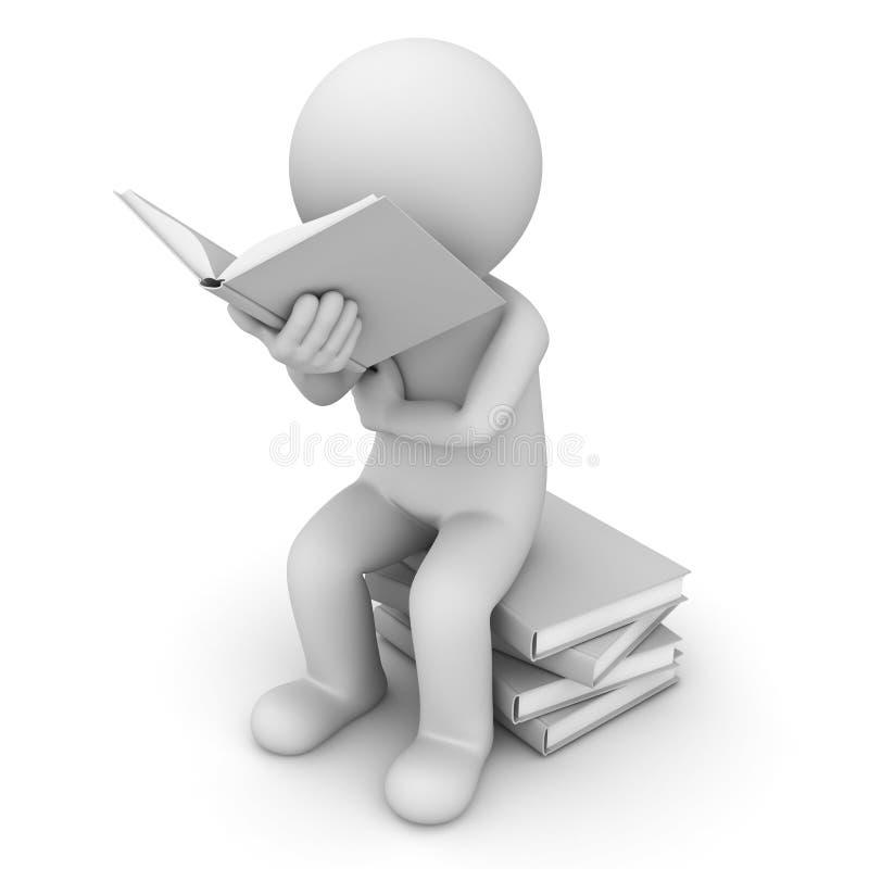 Mann 3d, der auf einem Stapel der Bücher und des Lesebuches sitzt lizenzfreie abbildung