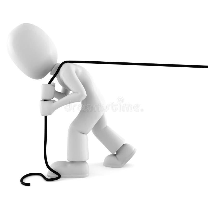 Mann 3d, der ein Seil getrennt auf Weiß zieht stock abbildung