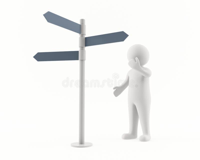 Mann 3D, der einen Signpost betrachtet lizenzfreie abbildung