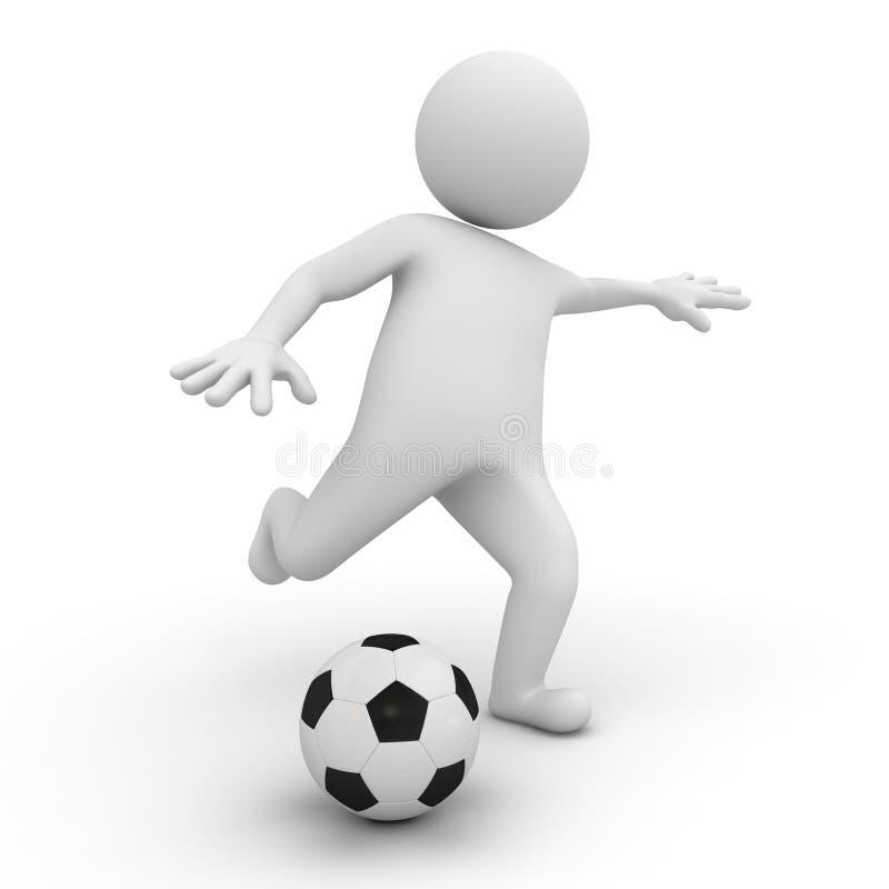 Mann 3d, der Fußball oder Fußball spielt vektor abbildung