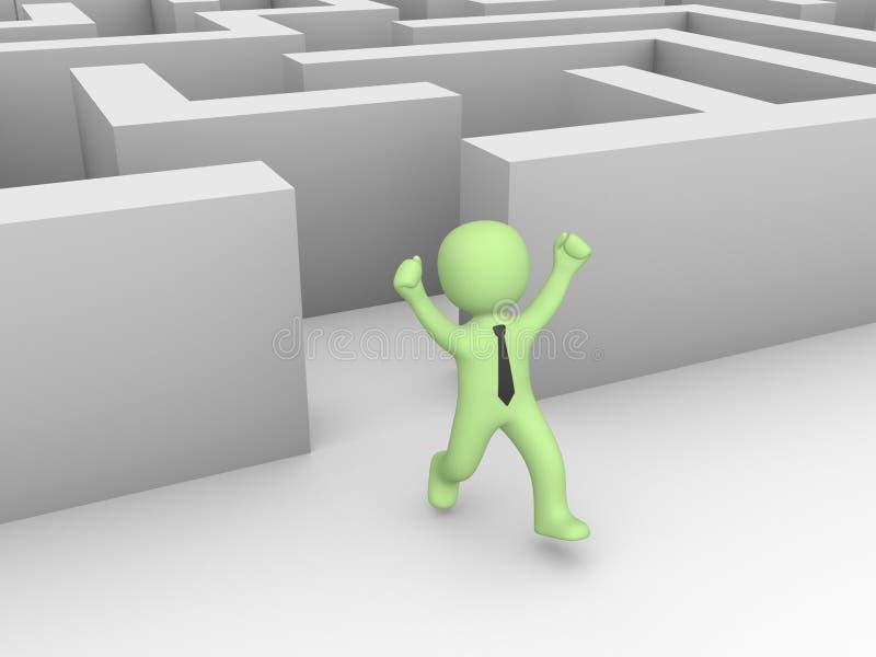 Mann 3d fand einen Ausweg eines Labyrinths lizenzfreie abbildung