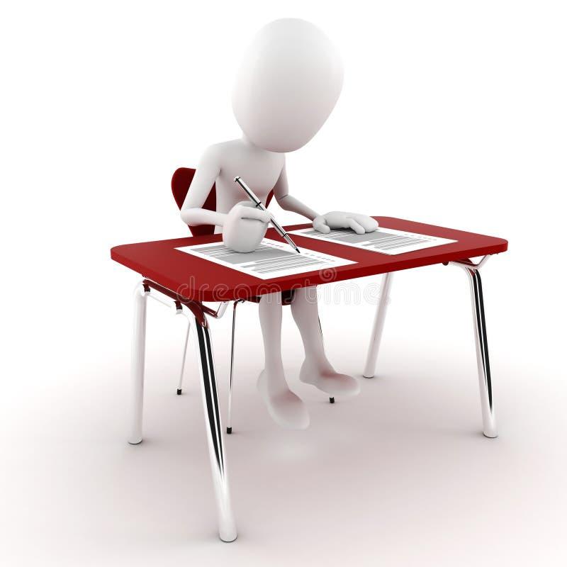 Mann 3d im Klassenzimmer, Prüfungprüfung stockfoto
