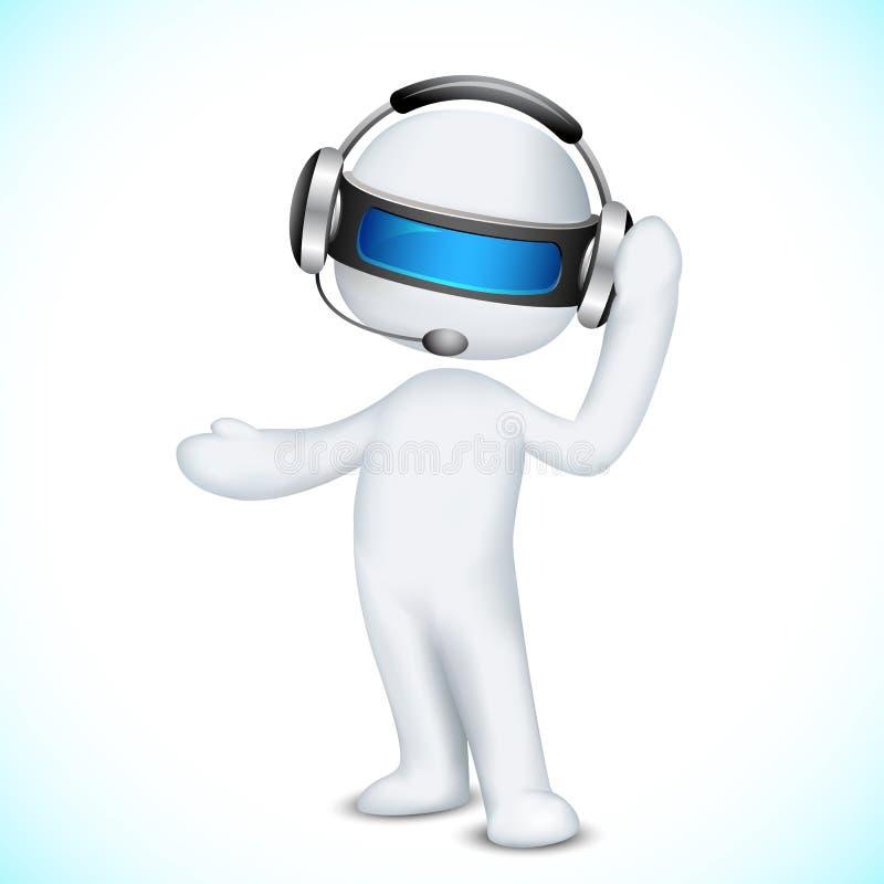 Mann 3d im Vektor im Kundenkontaktcenter lizenzfreie abbildung