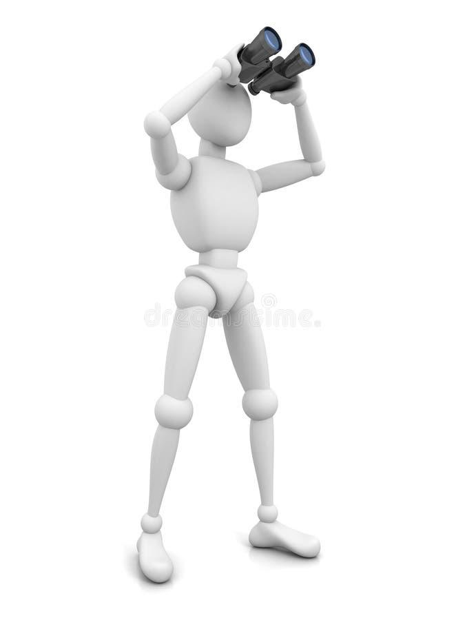 Mann 3d mit binokularem auf weißem Hintergrund vektor abbildung