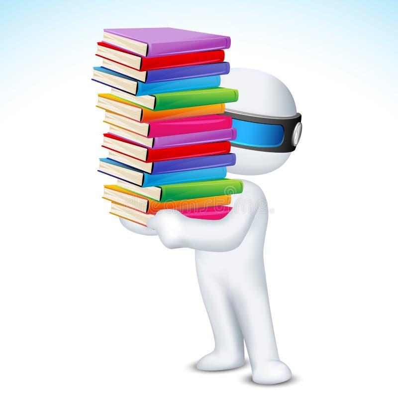 Mann 3d mit Buch im Vektor lizenzfreie abbildung