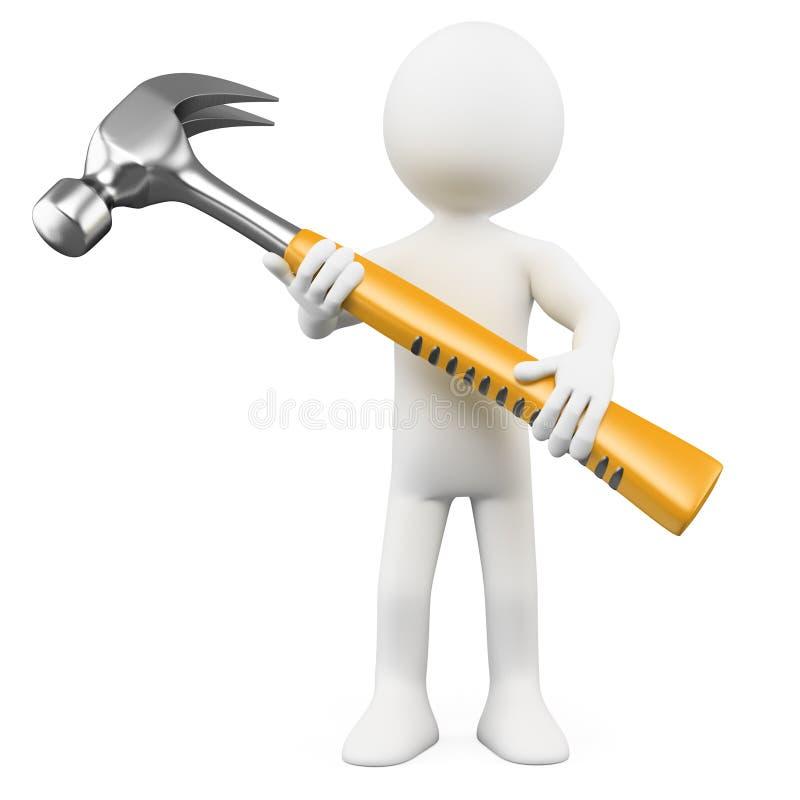 Mann 3D mit einem sehr großen Hammer lizenzfreie abbildung