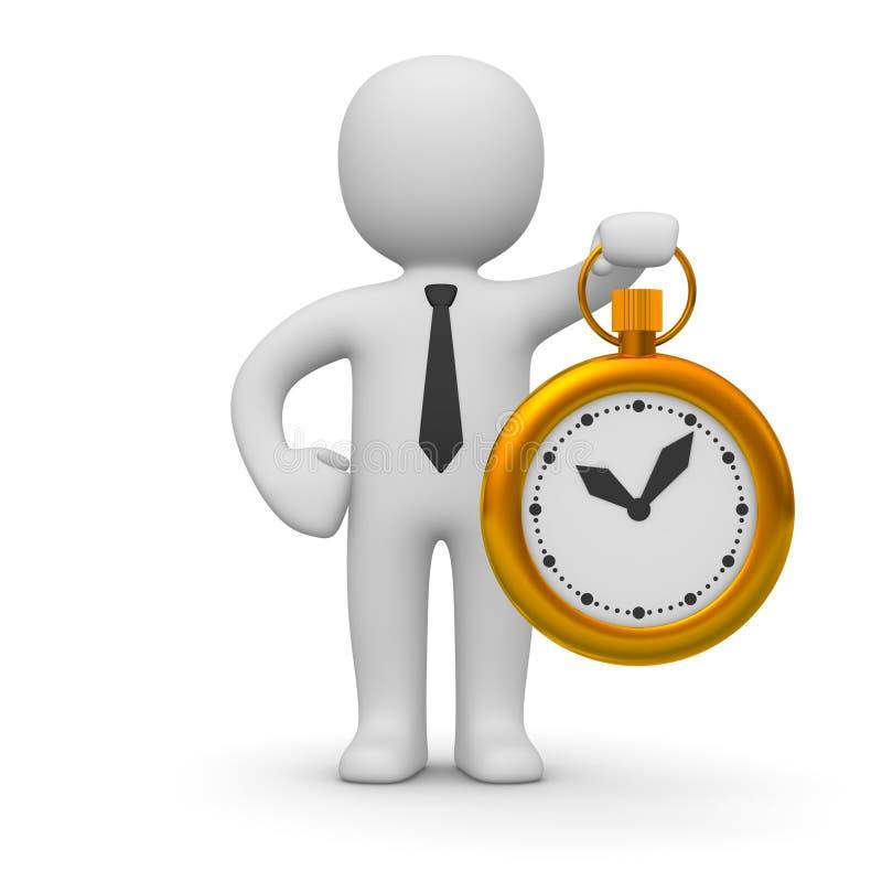 Mann 3d mit einer Uhr stock abbildung