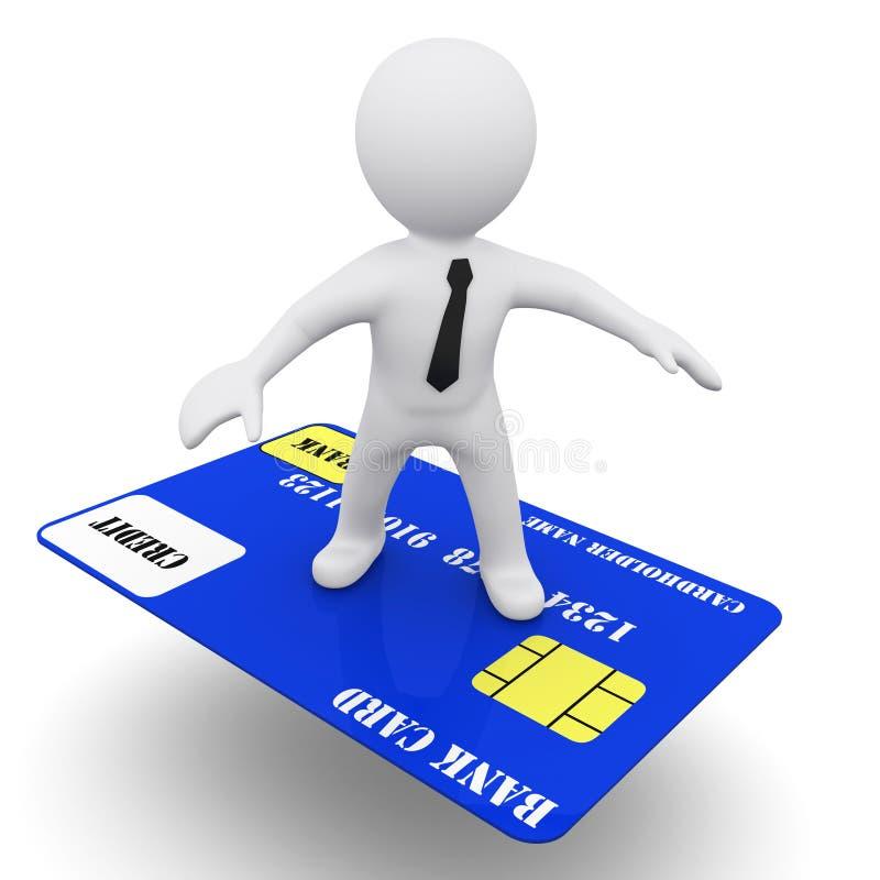 Mann 3D mit Kreditkarte stock abbildung