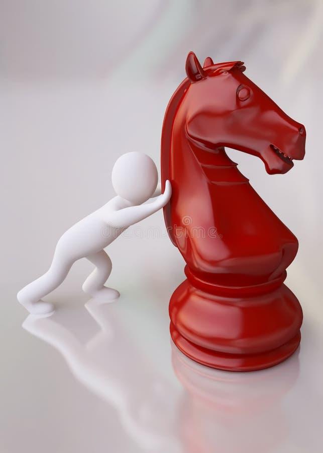 Mann 3D mit rotem Schach-Pferd stock abbildung