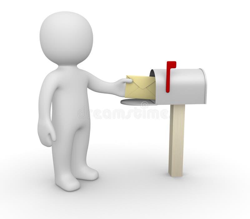 Mann 3d mit Umschlag neben Mailbox stock abbildung