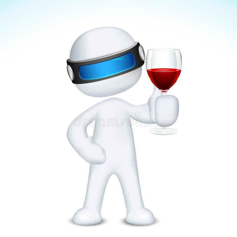 Mann 3d mit Wein-Glas stock abbildung