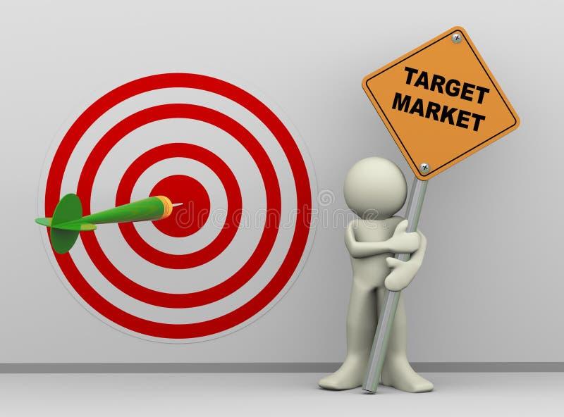 Mann 3d mit Zielmarkt-Zeichenvorstand lizenzfreie abbildung