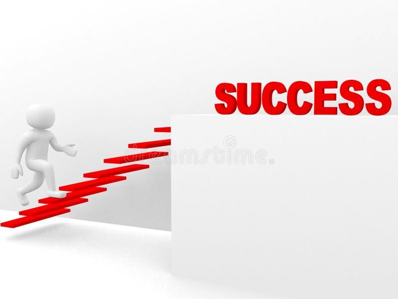 Mann 3d steigt die Leiter des Erfolgs stockfoto