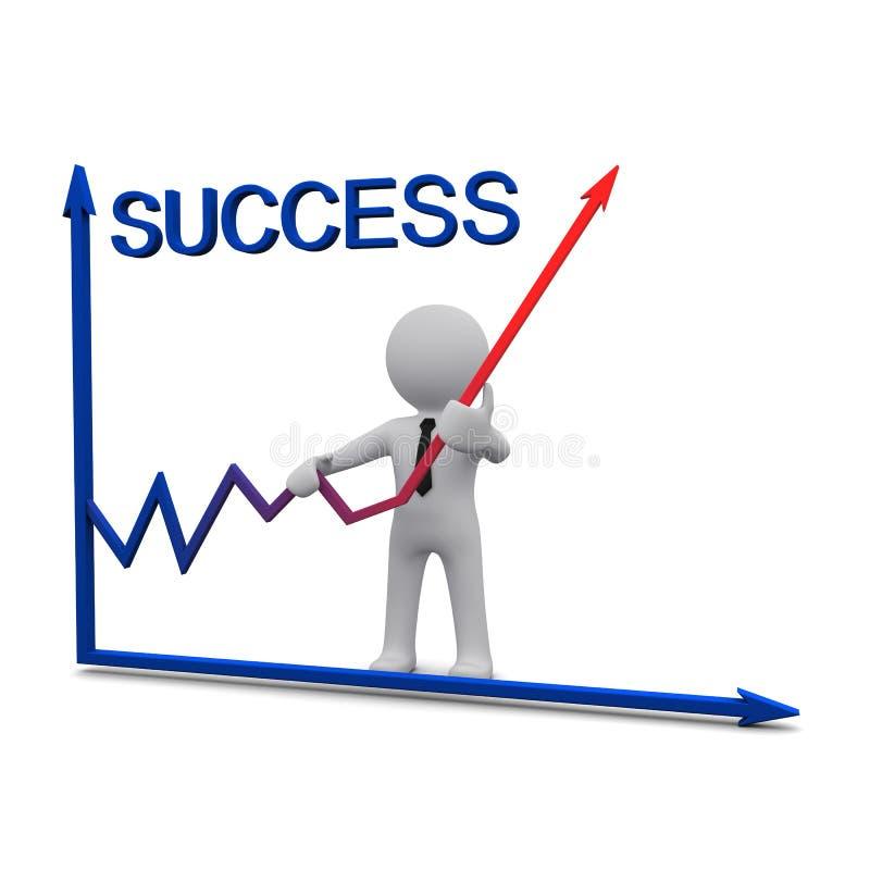 Mann 3D und Erfolgsdiagramm mit rotem Pfeil lizenzfreie abbildung