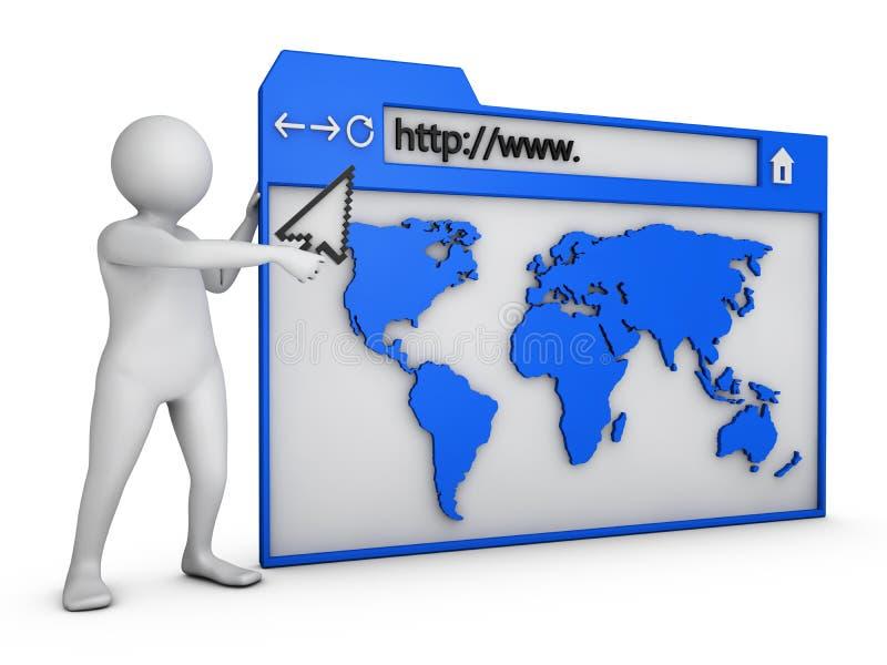 Mann auf Browser lizenzfreie abbildung
