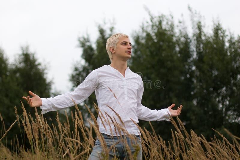 Mann auf dem Feld stockbild