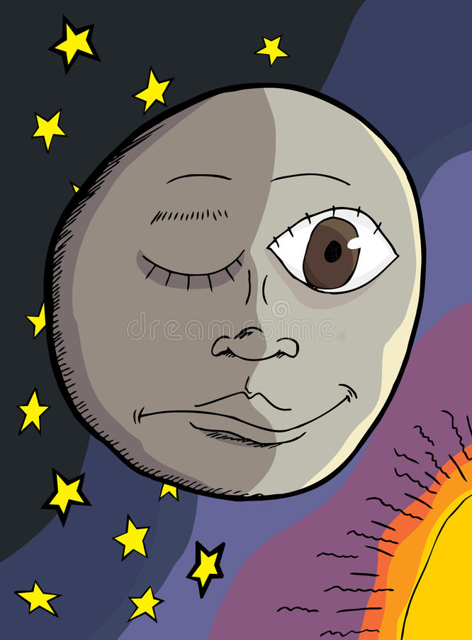 Mann auf dem Mond stock abbildung