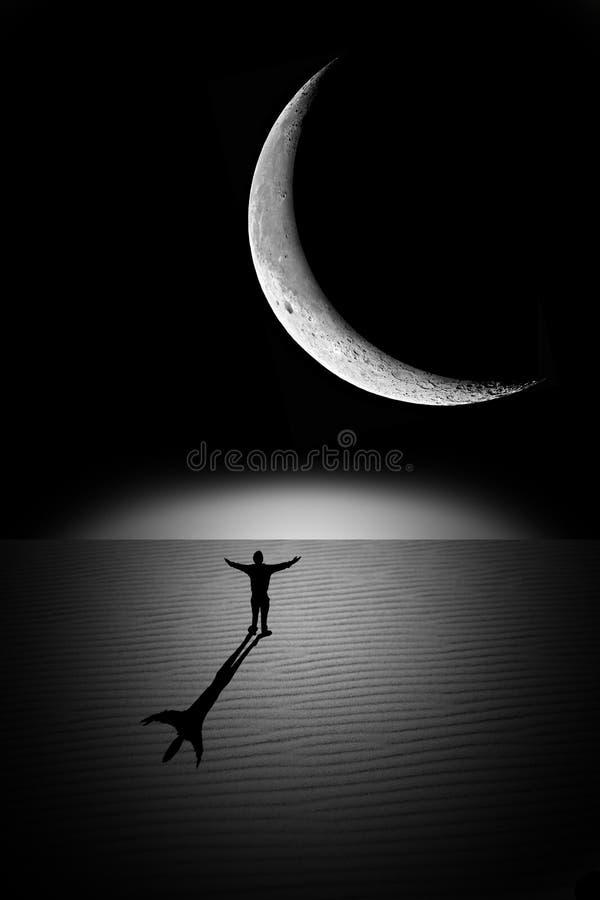 Mann auf dem Mond stockfotografie