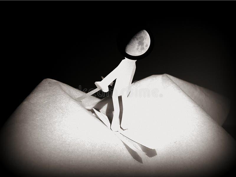 Mann auf dem Mond, Traum des Schnees stockbild