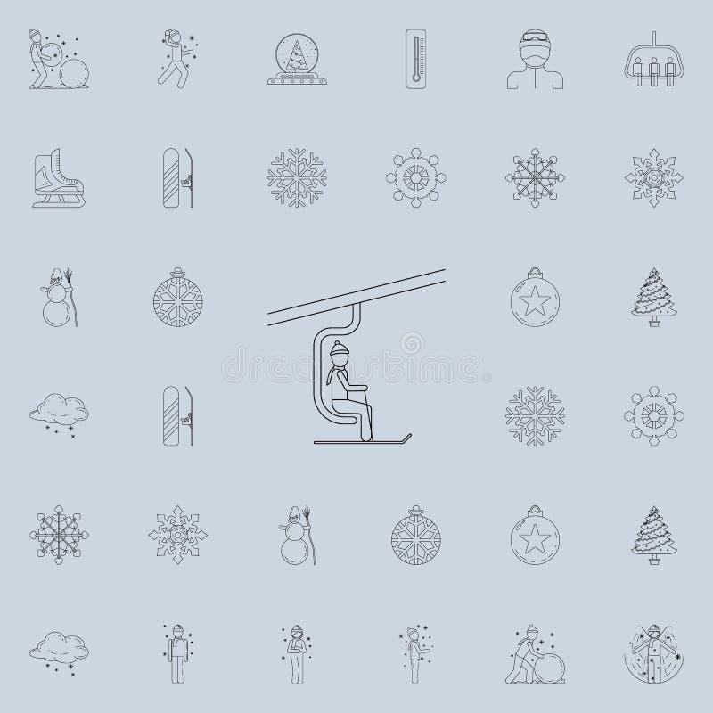 Mann auf der Skiaufzugikone Ausführlicher Satz Winterikonen Erstklassiges Qualitätsgrafikdesignzeichen Eine der Sammlungsikonen f stock abbildung