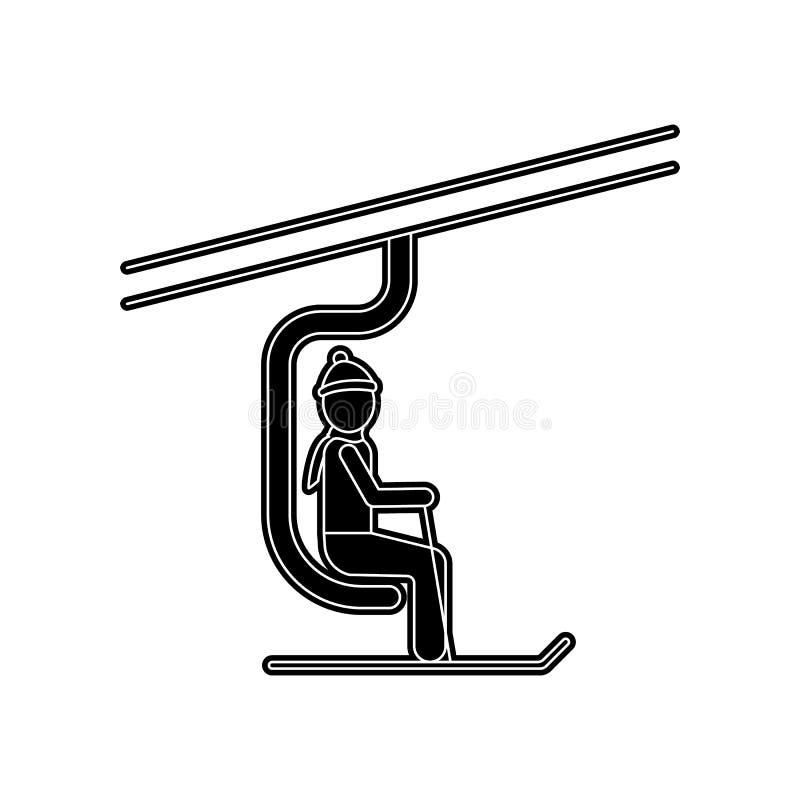 Mann auf der Skiaufzugikone Element des Winters f?r bewegliches Konzept und Netz Appsikone Glyph, flache Ikone f?r Websiteentwurf stock abbildung