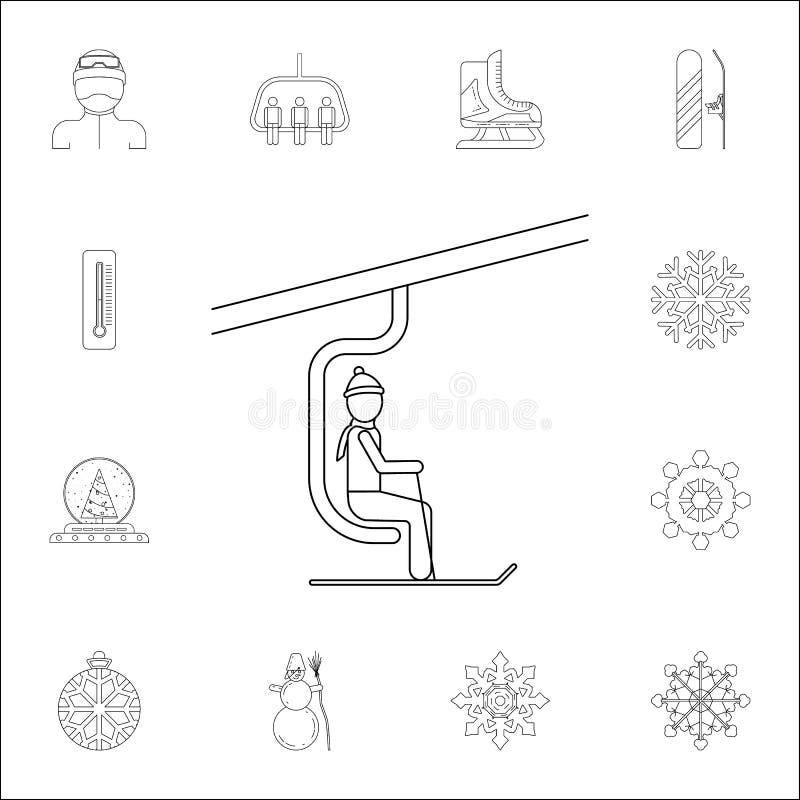 Mann auf der Skiaufzugikone Winterikonen-Universalsatz für Netz und Mobile stock abbildung