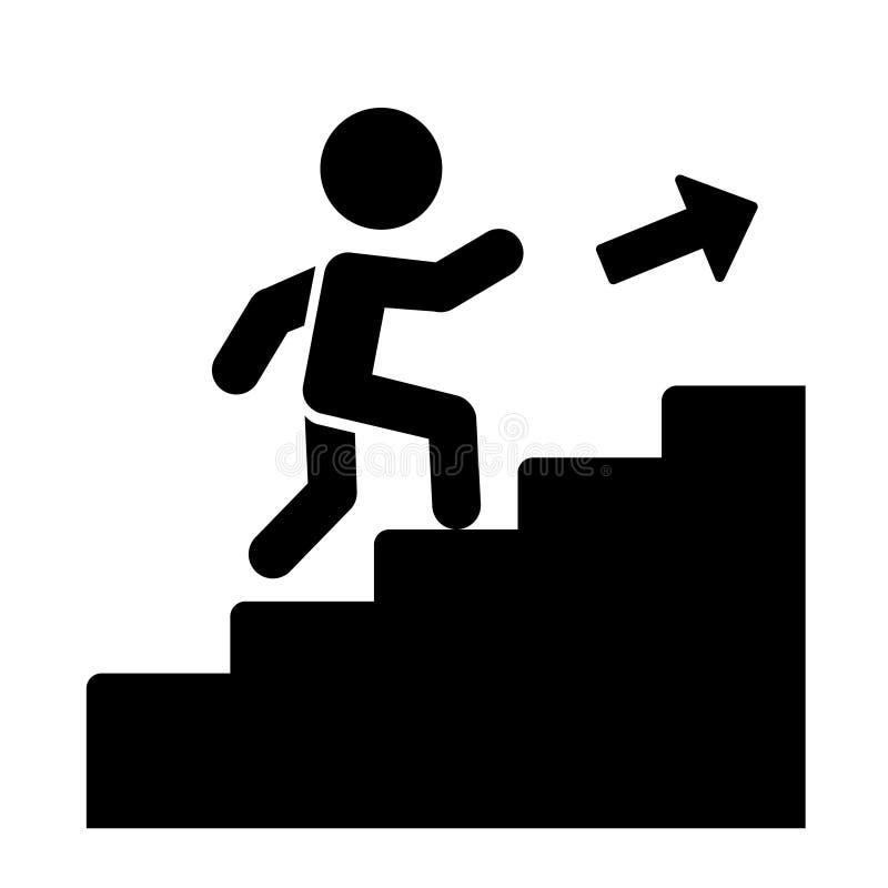 Mann auf der Treppe, die oben Ikone geht Vektor lizenzfreie abbildung
