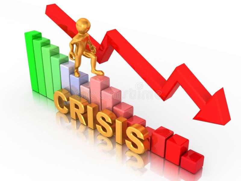 Mann auf Diagramm. Krise stock abbildung