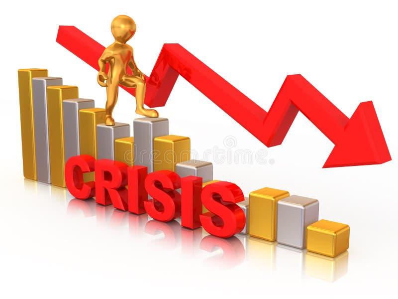 Mann auf Diagramm. Krise lizenzfreie abbildung