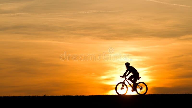 Mann auf einem Fahrrad im Sonnenuntergang stockfotografie