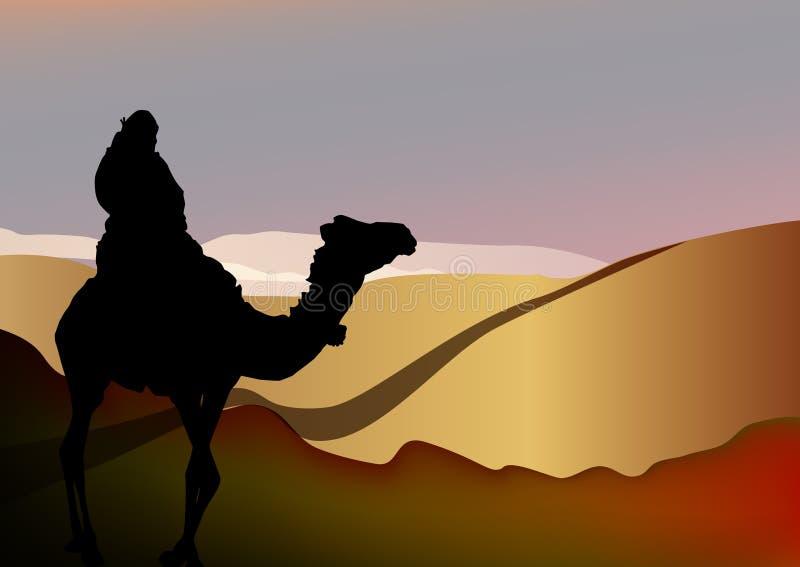 Mann auf einem Kamel in der Wüste, vektorauslegung stock abbildung