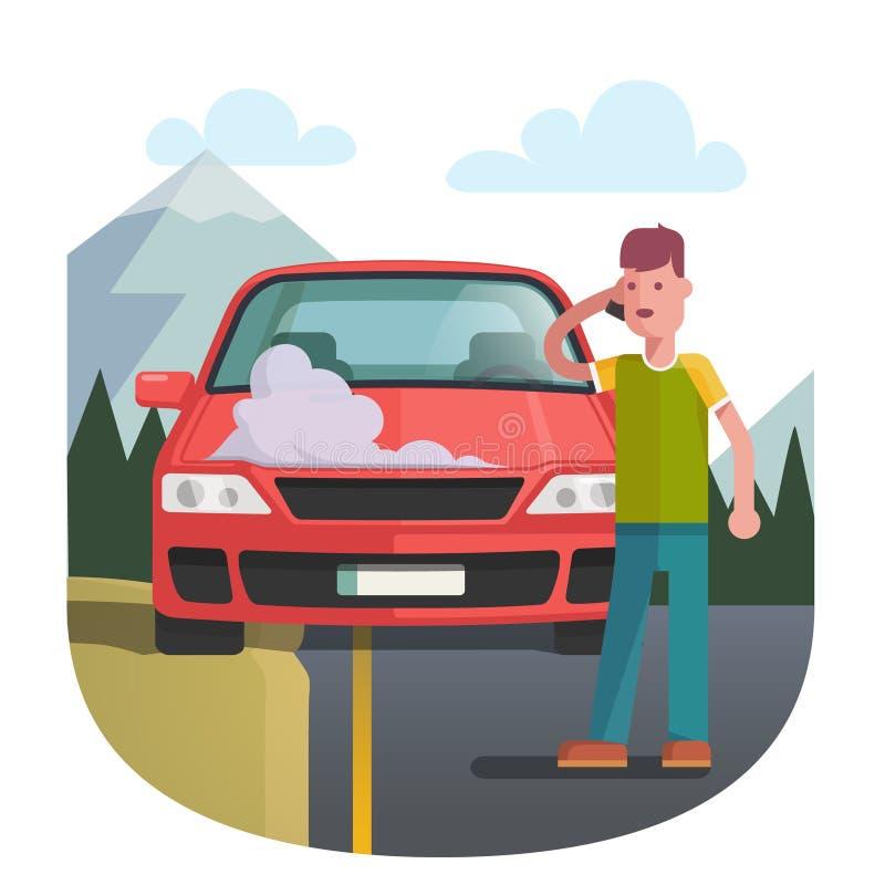 Mann auf einem Straßenrand, der nahe defektem Auto steht vektor abbildung
